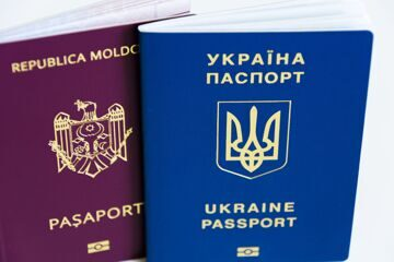 Friendship of nations: Ukrainian passport and the passport of Moldova close up on a white background